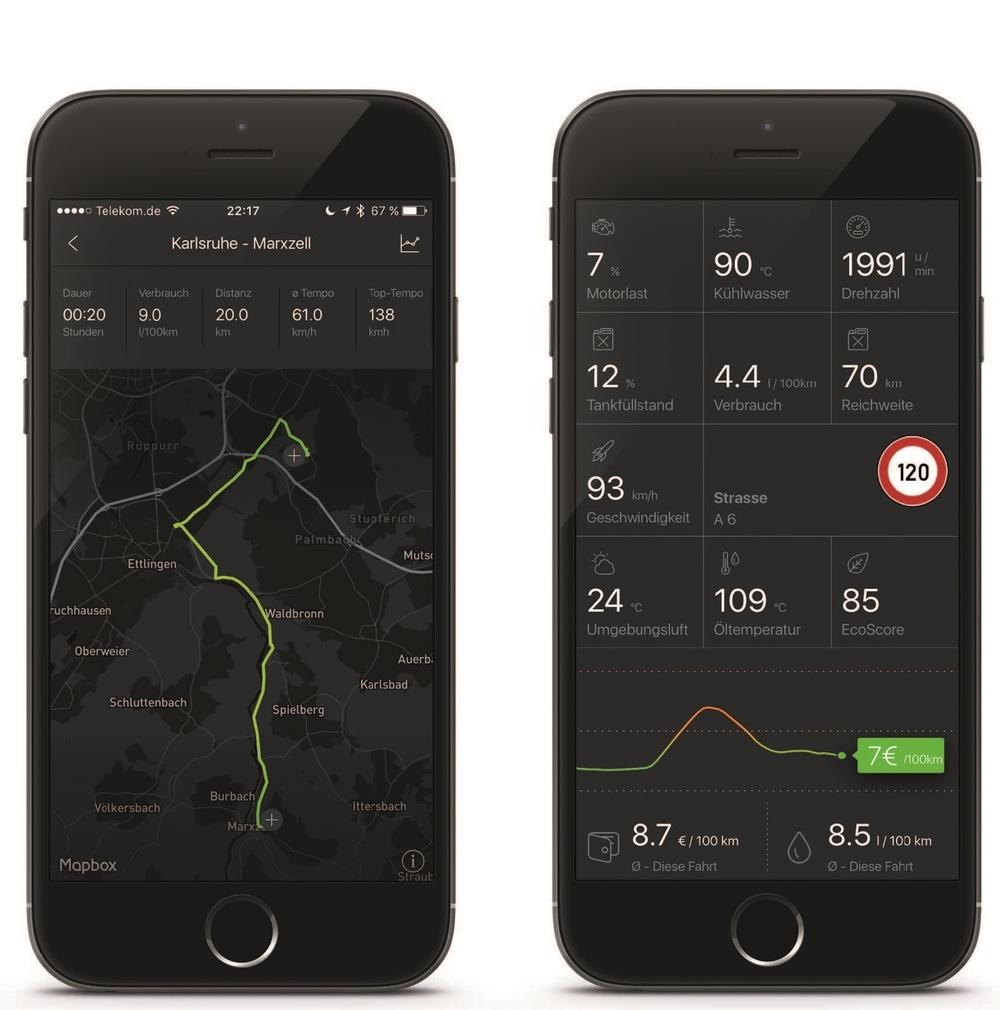 Neun innovative Features sind so einsatzbereit, vom Performance-Monitor über die Analyse von Fehlercodes bis zum Spritspar-Trainer oder einem elektronischen Fahrtenbuch